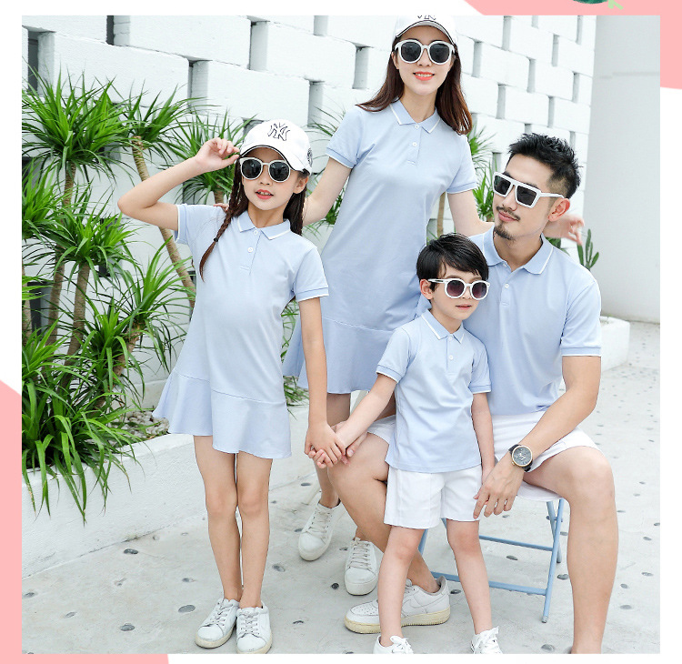 HTB1lYa6Xq61gK0jSZFlq6xDKFXa7 - family matching outfits summer Polo shirt mother daughter matching dresses dad son turn down collar family couple clothes