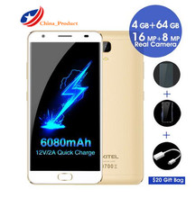 "OUKITEL K6000 Plus 4G 5.5 ""FHD Octa Core 4 GB + 64 GB 6080 mAh 12 V/2A QC Charge 16MP Avant Tactile ID Smartphone silicon case new téléphone"