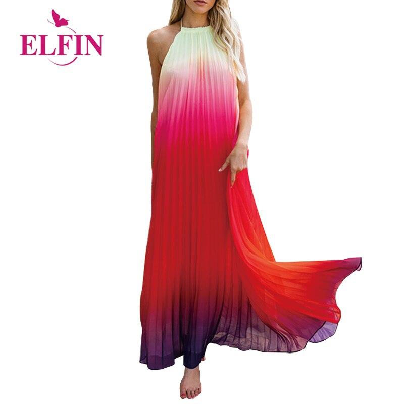 Women Long Dresses Fashion Strap Gradient Color Summer Beach Spaghetti Strap Maxi Dress WS8887R
