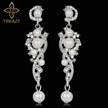 TREAZY Luxury Simulated Pearl Long Earrings Silver Color Crystal Floral Dangle Drop Earrings for Women Wedding