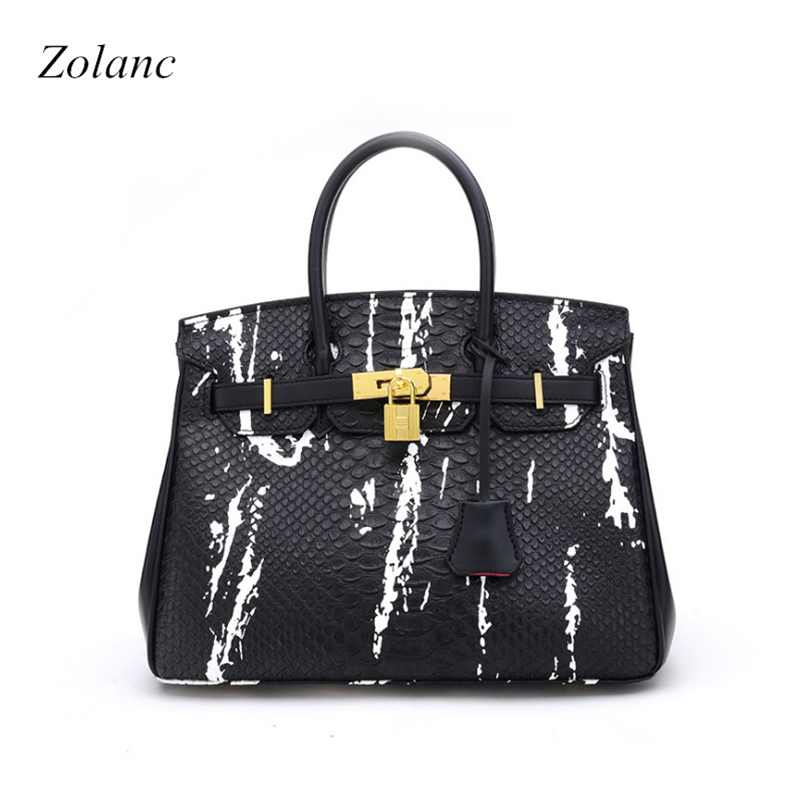 Newest Luxury Fashion Alligator PU Leather Women High Capacity Lock Bag Famous Handbag Cowhide Ladies