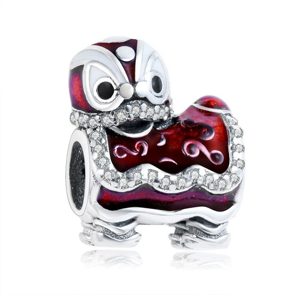 2017 Merry Christmas 925 Sterling Silver Beads Dancing Lion Bead Charm With Red Enamel Fit Pandora Bracelet DIY Jewelry Making