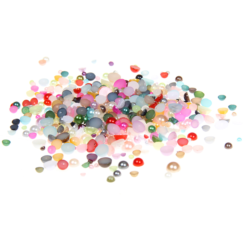 A Box of 10 Colors 5000pcs 4mm Half Pearl Flatback Beads Jewelry Making
