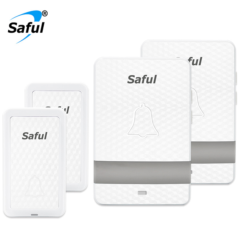 Saful EU/US Wireless Doorbell Self-powered Plug-in Cordless Waterproof 28 Rings Home Door Bell with 2 Push Buttons +2 Receivers ts k108w12 wireless doorbell portable digital cordless door bell kit waterproof 1000ft 300m range with plug in receivers