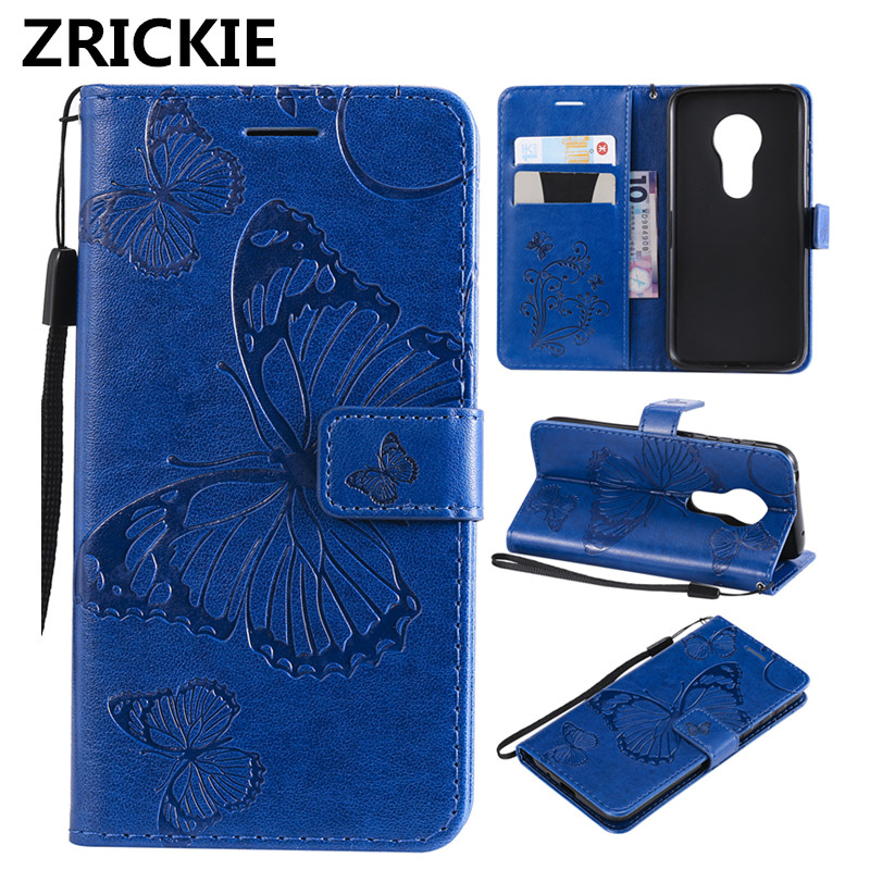 ZRICKIE 3D Flip Leather Wallet Stand Phone Case For Motorola Moto G7 Play EU Embossed Butterfly Patterned Card Holder TPU Shell in Wallet Cases from Cellphones Telecommunications
