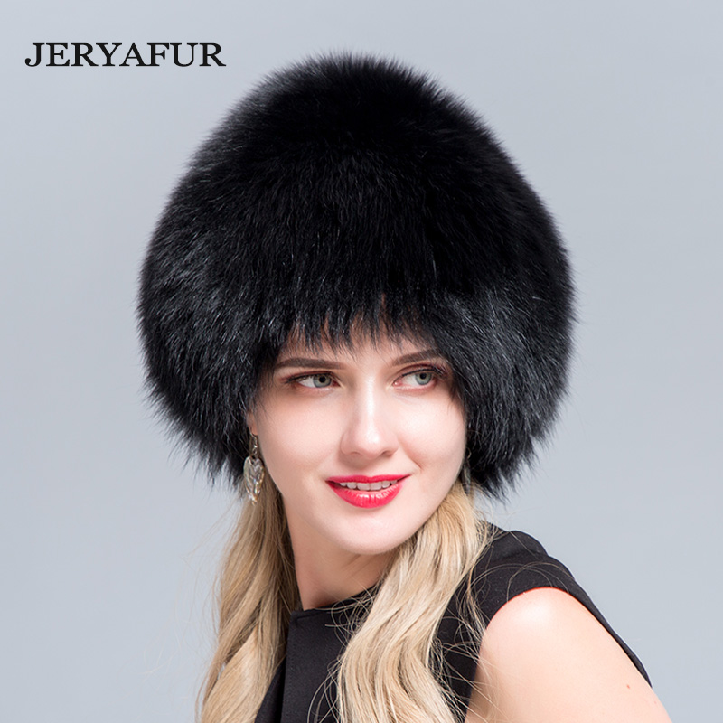 JERYAFUR 2018 NEW russian bomer caps women winter fur hat genuine fox fur hats knitted silver fox fur caps female