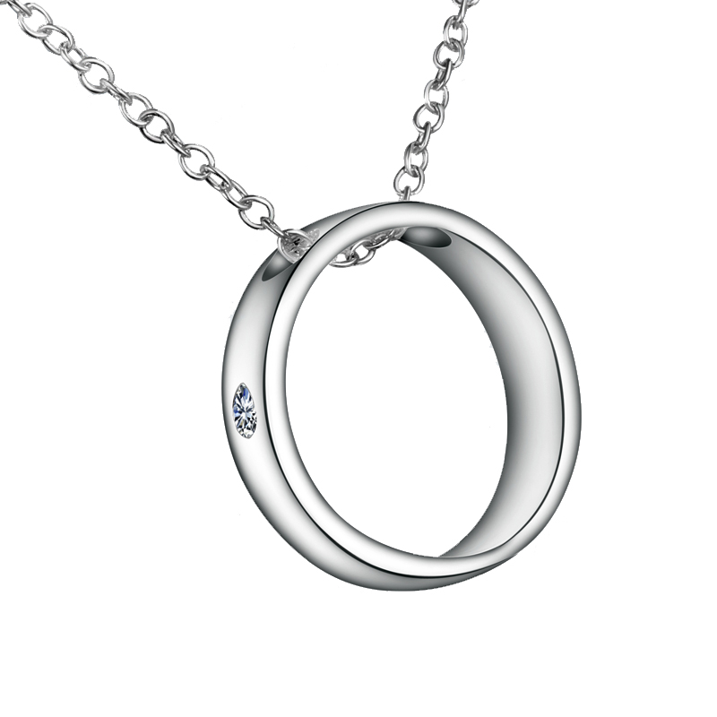 Love Quotes Necklaces Silver Plated Women Circle Pendants With Chains
