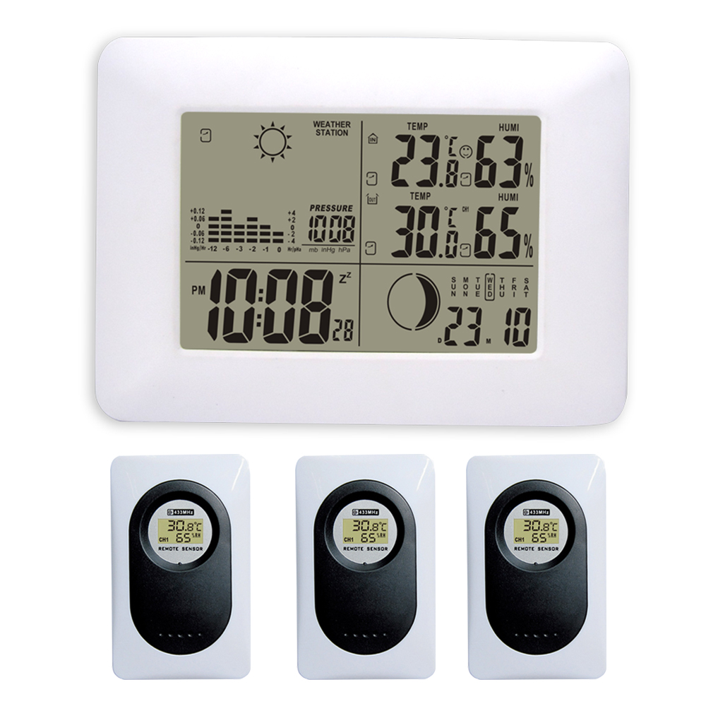DYKIE Blue Backlight RF Digital Wireless Weather Station with Indoor Outdoor Thermometer Hygrometer Barometer 3 Remote Sensors
