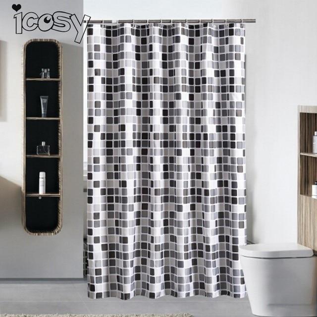 80x180cm Bathroom Curtain Plaid Print Bathtub Shower Fabric Waterproof Mildew Proof With Hook
