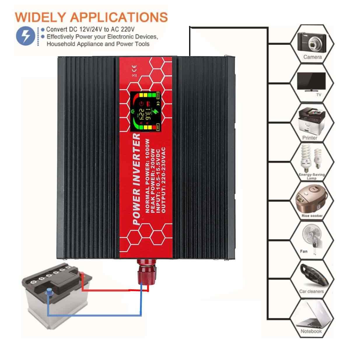 Инвертор 12/24 V до 220 V интеллектуальный экран 2000 W верхушкой с-модифицированный синусоидный инвентор с Мощность Напряжение трансформатор инвертор конверте