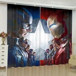 De Avengers gordijnen voor raam Marvel iron Man Batman jaloezieën afgewerkt draperie rideaux gordijn parlour woonkamer verduisteringsgordijnen