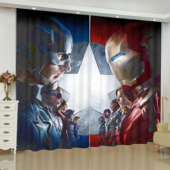 Mściciele zasłony na okno Marvel iron Man Batman rolety wykończone draperie rideaux zasłony salon zasłony zaciemniające tanie i dobre opinie Dekoracje + pełne lekkiego cieniowania Kurtyny Lewy i prawy biparting otwarta Montaż sufitowy T0153 Drukowane Francuski okno