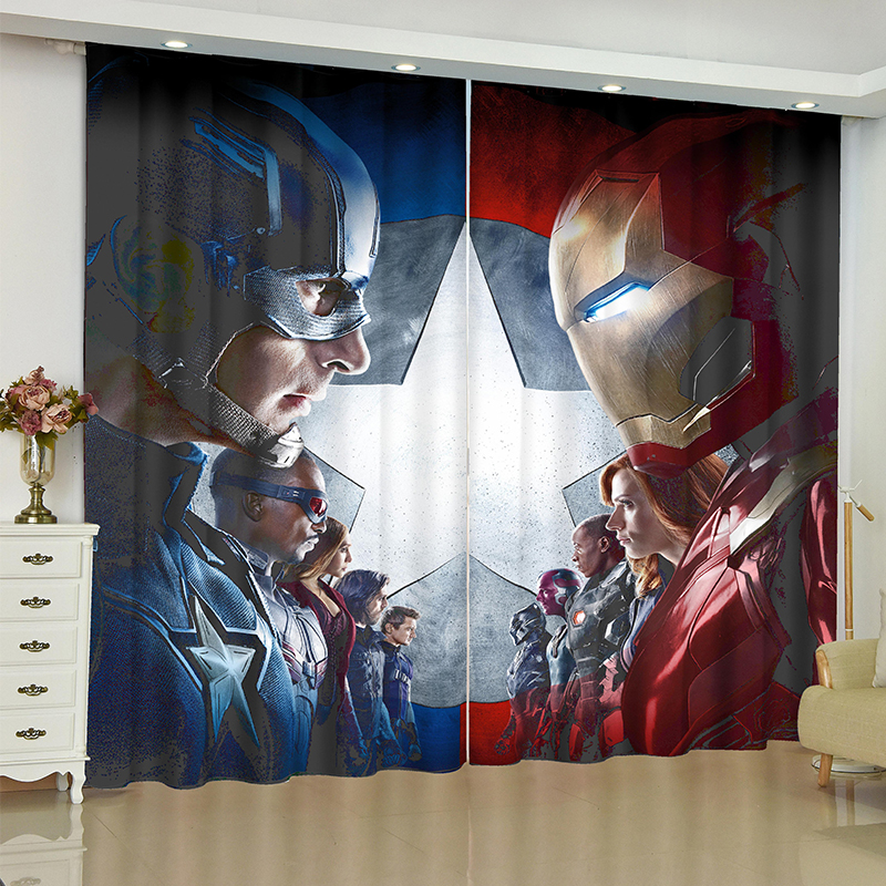 The Avengers Curtains For Window Marvel Iron Man Batman Blinds Finished Drapery Rideaux Curtain Curtains Parlour Room Blinds