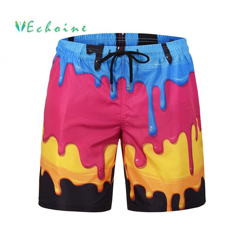 2019 Mode Echoine Plus Größe Marke Mens Strand Shorts Kokospalme Druck Casual Hosen Für Männer Hohe Taille Kordelzug Shorts Surf Shorts