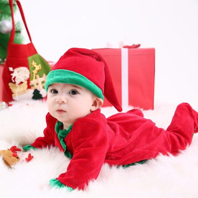 2019 new year Rompers baby Velvet Overalls+Hat long sleeves newborn ...