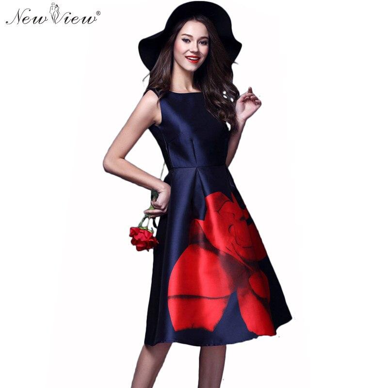 NewView 2017 Dress Summer Style Vestidos Women Casual Vintage Print Rose Long Elegant Party Office Dress