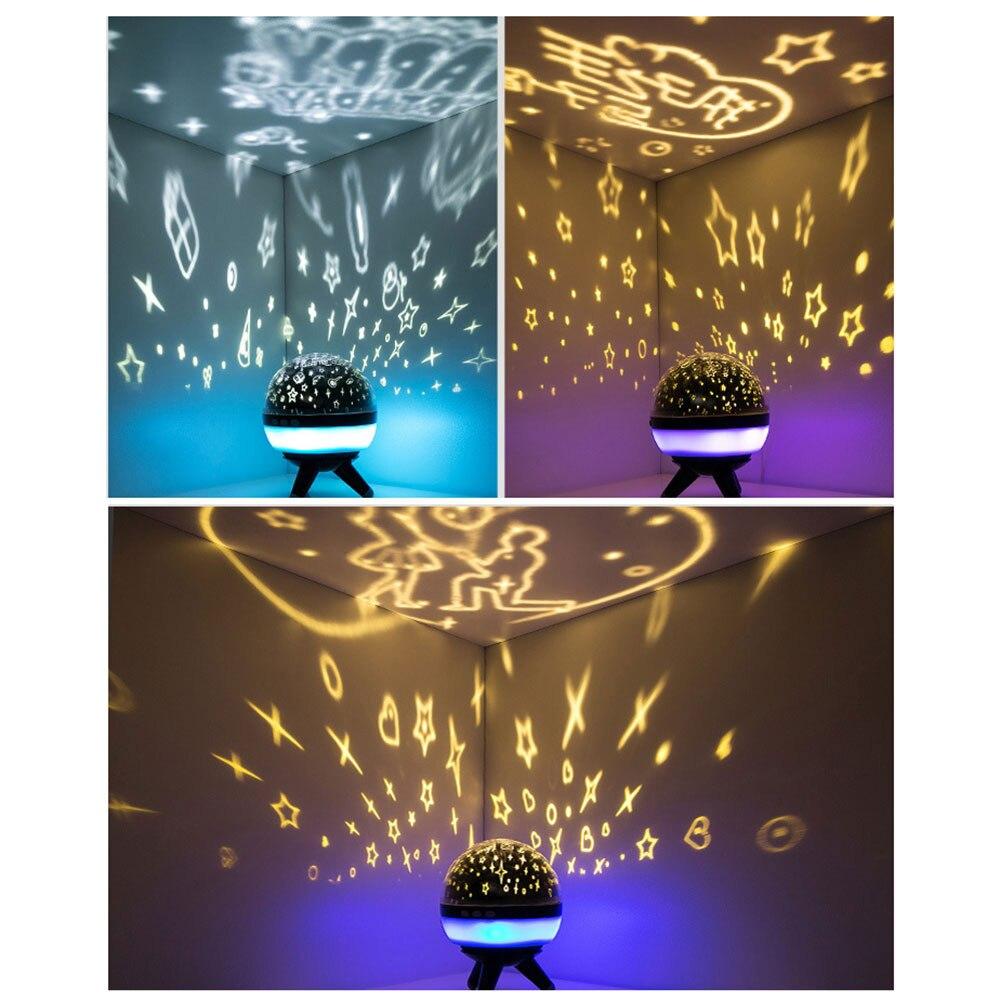 Starry Sky Projector Night Light USB Battery Power LED Night Light Luminaria Novelty Lamp Nightlight Illusion for Children Baby