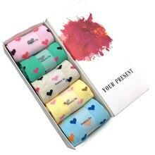 5 Pairs/Lot Cotton Socks Girls Heart Style Pattern Casual Comfortable Long Women Ladies Brand Fashion Sweet Gift Hot Sale