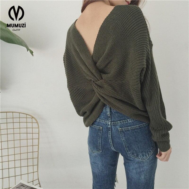 MUMUZI New Women Autumn Sweater 2017 short design bandage cross pullover tops Korean Slim oose Knit Sweater Outwear