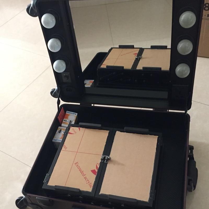 Maskenbildner up Professionelle Kaffee Carry Walz Fall on 4 Gelb Box Licht Zug Abnehmbaren Führte räder Make xx6qfwB