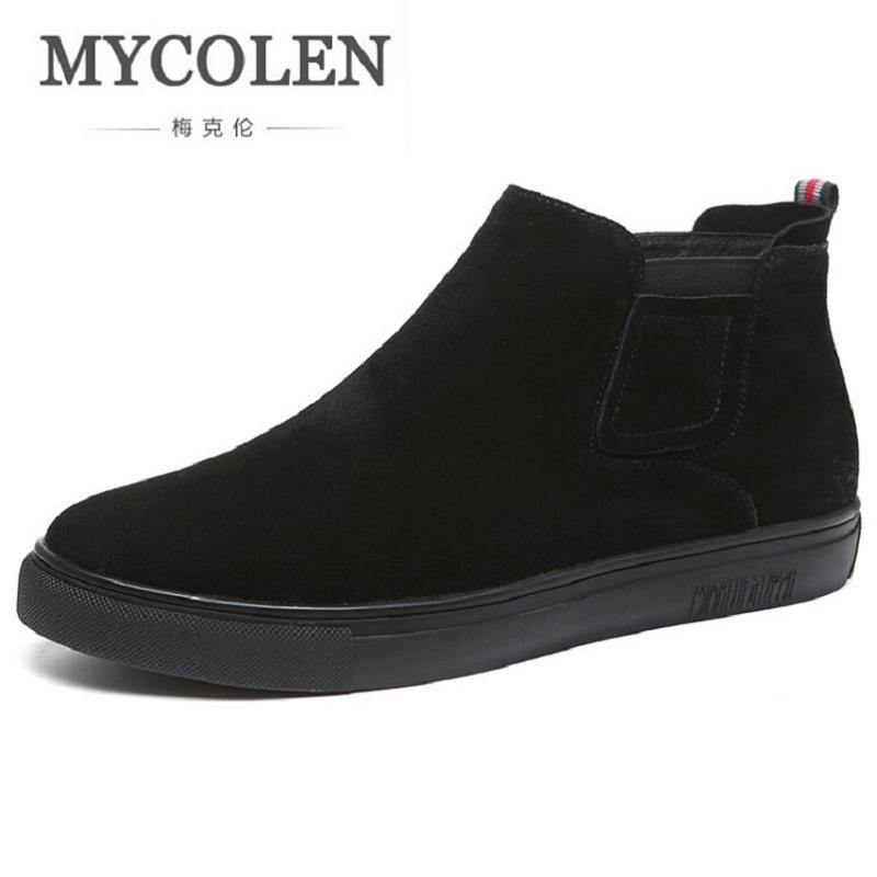 MYCOLEN New Designer Handmade Men Genuine Leather Autumn Boots High Quality Winter Men Boots Black Zipper Ankle Boots For Men autumn warm plush winter shoes men zipper 100% genuine leather boots men thick bottom waterproof black high top ankle men boots