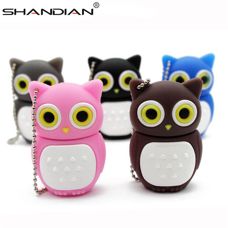 Memory-Stick Pen-Drive SHANDIAN Owl Usb Lovely U-Disk 16GB 8GB 4GB 32GB 64GB 4-Colors title=