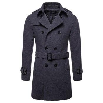 2018 New Arrival Windbreaker Men's EU Size Men's Long Woolen Coat Material Windbreaker Men's Jacket Windbreaker S-XXL