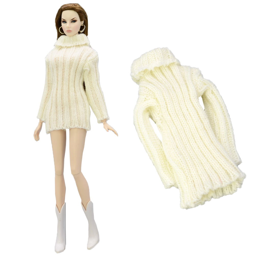 NK Doll Coat Pure Manual Clothes Knitted Handmade Sweater Tops Dress For Barbie Doll Accessories Girls' Gifts Doll Toys 03B DZ