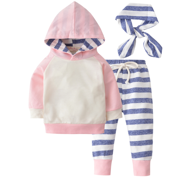 2019 New Autumn Newborn Baby Boy Girls Clothes Cute Hooded Sweatshirt Tops + Cotton Pants 3pcs Outfit Kids Infant Clothing Set 1
