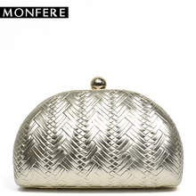 hot deal buy monfere hot party women day clutch bag round pu frame evening bags small woven shell box handbag chain shoulder bags beauty case