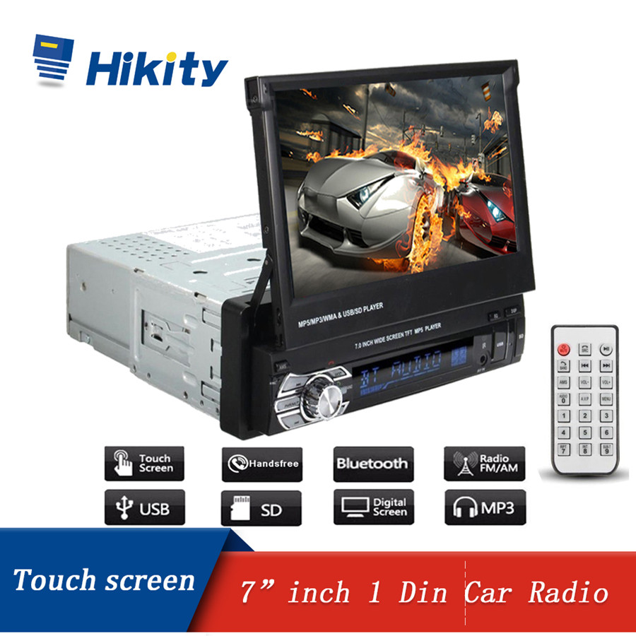 Hikity 1 din Car Radio 7inch 1din HD Autoradio Multimedia Player Bluetooth FM USB AUX SD Retractable Touch Screen MP5 Stereo Audio