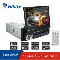 Hikity 1 din Car Radio 7 1din HD Autoradio Multimedia Player Bluetooth FM USB AUX SD Retractable Touch Screen MP5 Stereo Audio