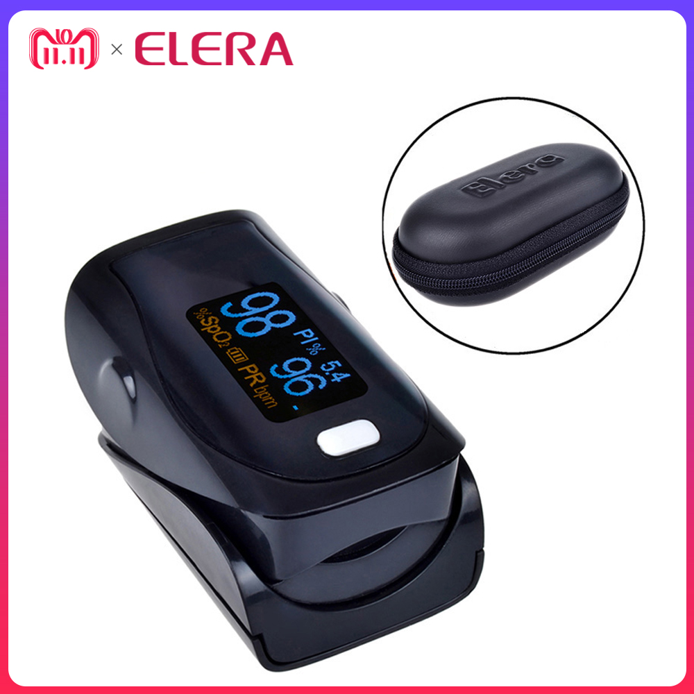 ELERA Newest Design!! Digital Finger Pulse Oximeter WITH CASE Oximetro de Pulso digital SPO2 PR PI Pulsioximetro a Finger