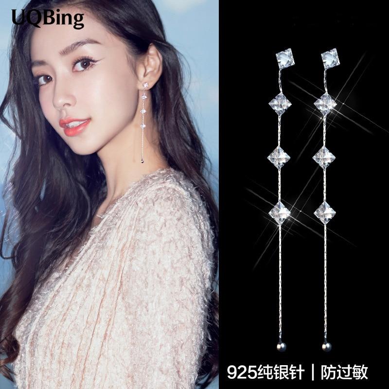 Europe Fashion 925 Sterling Silver Zirconia Crystal Stud Earrings For Women Jewelry