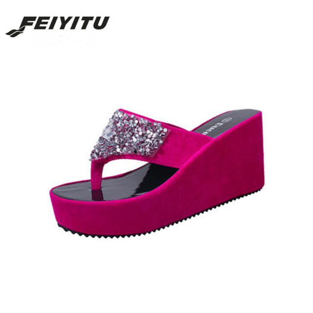 2c09b33ba FeiYiTu 2018 Summer Flip Flops Faux Crystal Platform Slipper Beach Creepers  Slip On Shoes Woman Casual Slippers Pink White Black