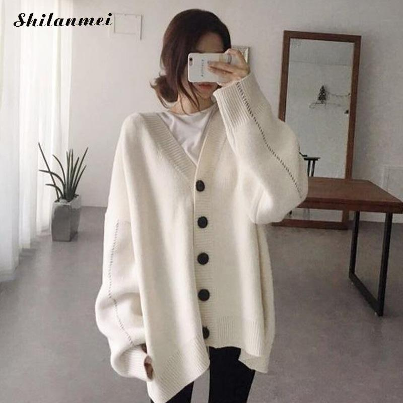 Autumn winter woman oversized Cardigans Shoulder Crochet Poncho Plus Size Coat Female Loose Knitted Sweaters white Jumper Tops