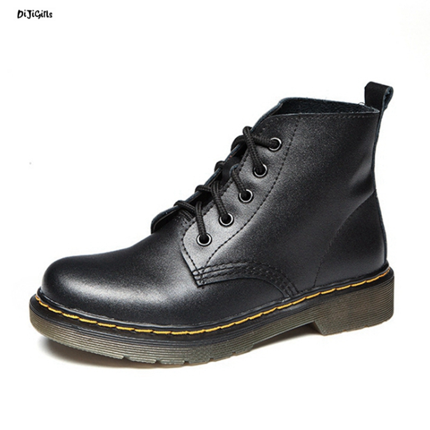 Women Fashion Leather Ankle Boots Plus Size Lace Up Casual Shoes Martin Boots Short Booties for Winter Autumn Spring xml03 odetina 2017 new fashion genuine leather women platform flat ankle boots lace up casual booties autumn winter shoes big size 43