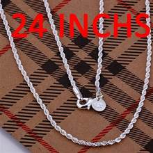 8cb7ced522 Wholesale fashion jewelry necklace, Twist chain 24'' 60cm Long necklace for Fat  Women's 2mm 925 Silver n226 gift pouches free