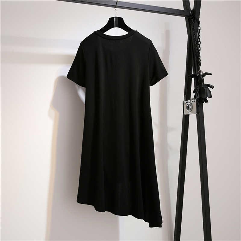 ファッション韓国プラスサイズの女性はサマードレス 2019 新しい女性半袖 2 個セットカジュアル女子ショートスカートスーツ 3XL