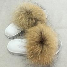 JKP Жанчыны футравыя тэпцікі Luxury Real Fox Fur дзяўчына пляж Сандал абутак Пухнаты Comfy Furry вьетнамка