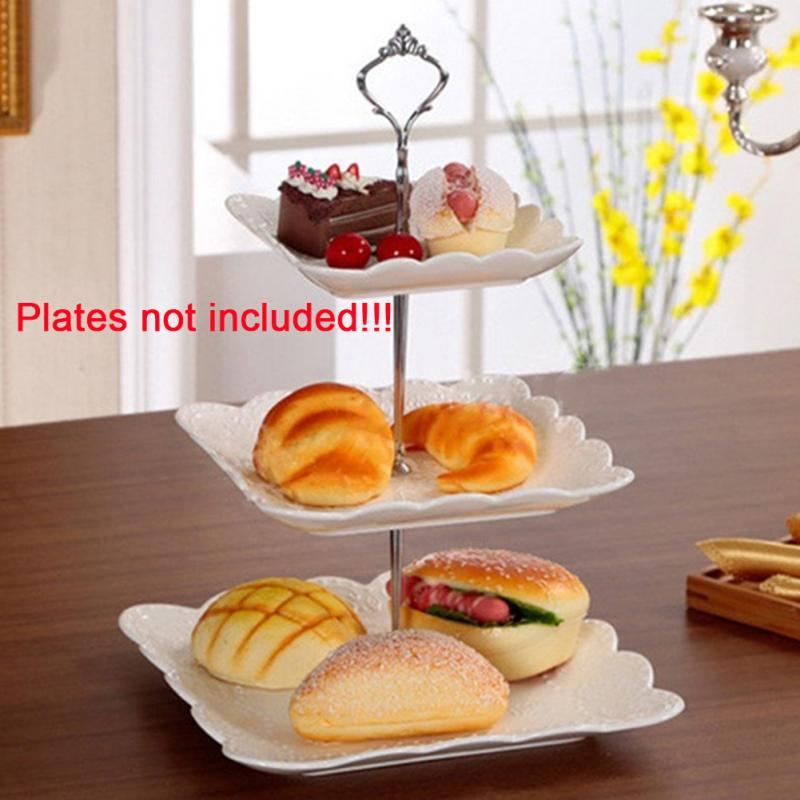 3 Tiers Cake Holder Stand Cake Plate Stand Handle Crown Fitting Metal For Wedding Party Birthday Festival