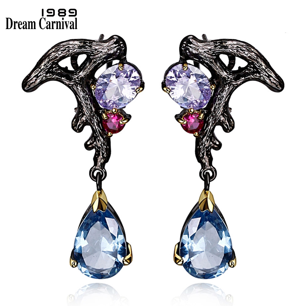 DreamCarnival 1989 Purple Blue CZ Örhängen Dangle Luxury Vintage Black Guldfärg Bijoux Pendientes Borla Bruiloft Brinco E08