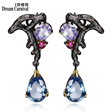 DreamCarnival 1989 Purple Blue CZ Earrings Dangle Luxury Vintage Black Gold Color Bijoux Pendientes Borla Bruiloft Brinco E08