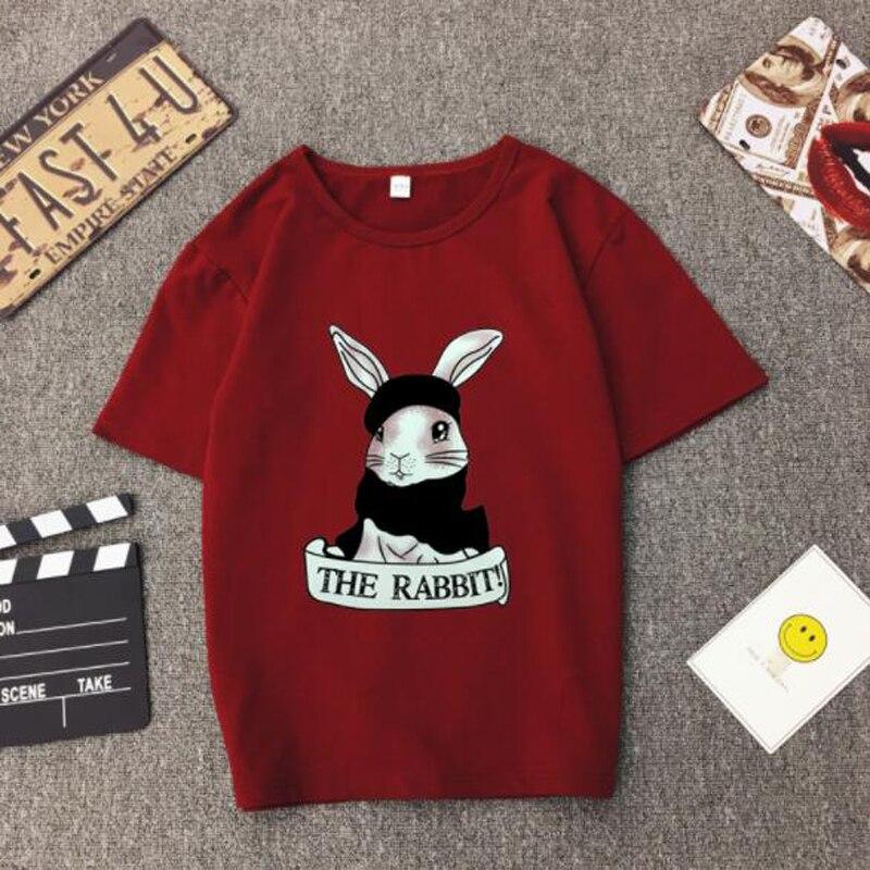 Cute Rabbit Print Women Tshirt High Quality Short Sleeve Round Neck Cotton Spandex Women Tops Casual Loose Women T-shirt