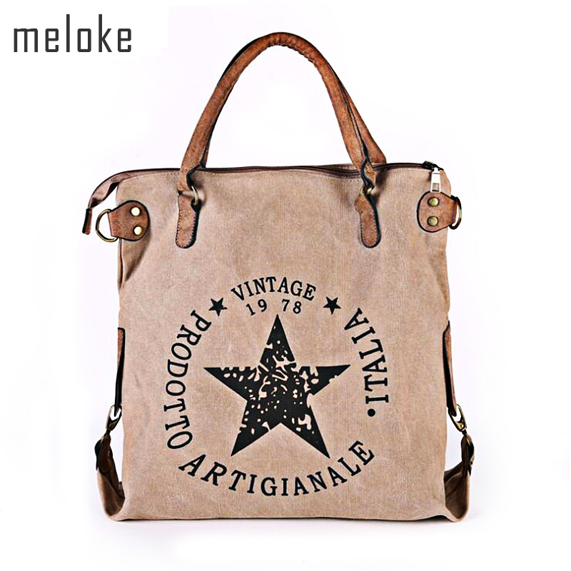 Meloke 2019 High Qialuty Printed Letters Star Canvas Shoulder Bags Multifunctional Women Bags Casual Large Size Tote MN791