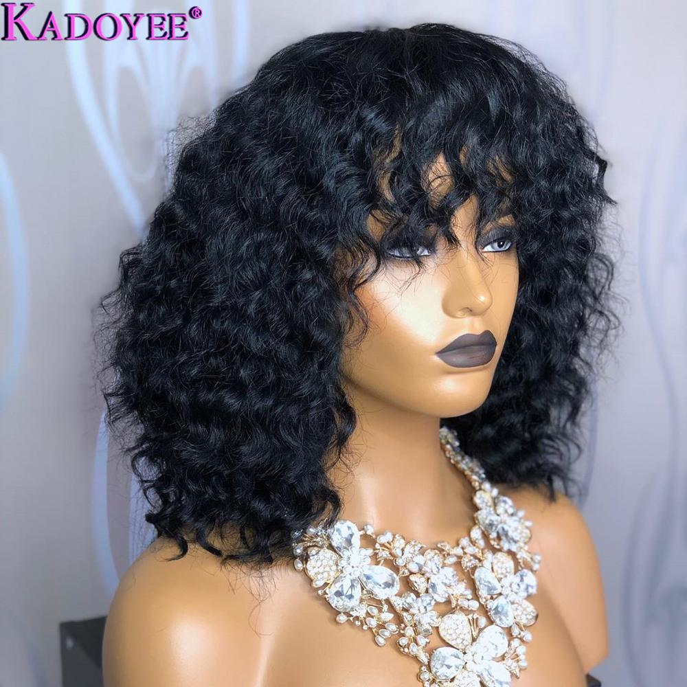 Human-Hair-Wigs Lace-Wig Curly Wig Bangs Frontal Black-Women Brazilian Pre-Plucked