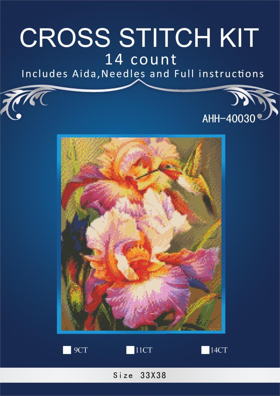 Oneroom Point De Croix Kits Iris et Colibri personnalité Artisanat Art Couture 14CT Brodé À La Main DMC Mur Décor À La Maison