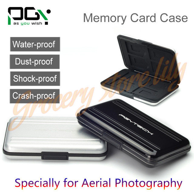 PGY SD SDHC CF Memory Card Phantom 3 4 inspire1 OSMO X5 3 accessories Aluminum Carrying bag Box Case Holder Protector Wallet