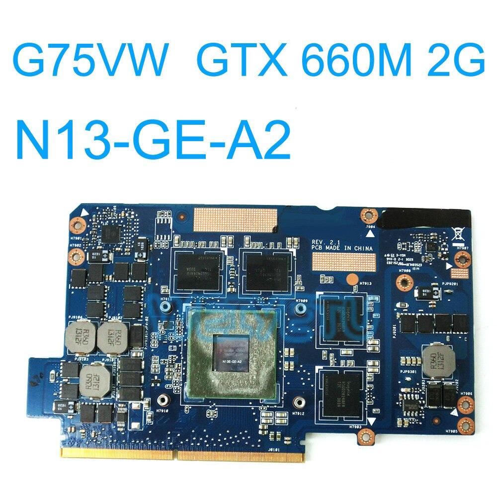 G75VW GTX660M 2GB GPU Graphic Card For Asus G75VW G75 G75V G75VW GTX660M REV 2.1 VGA board N13E-GE-A2 100% Tested new for asus g75 g75v g75vx g75vw g75vm laptop keyboard with backlit us version with frame