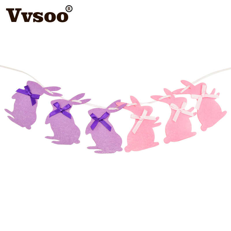 Vvsoo 3 m bonito coelho da páscoa garland crianças favores rosa roxo coelhos pano banner feliz aniversário decorações de festa casa